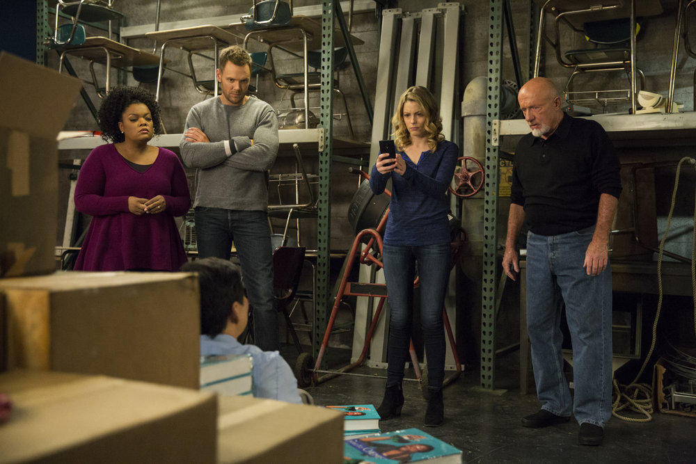 """Yvette Nicole Brown (left), Joel McHale, Gillian Jacobs and Jonathan Banks deal with Ken Jeong (seated) in """"VCR Maintenance and Educational Publishing,"""" a recent episode of NBC's dark comedy """"Community."""""""
