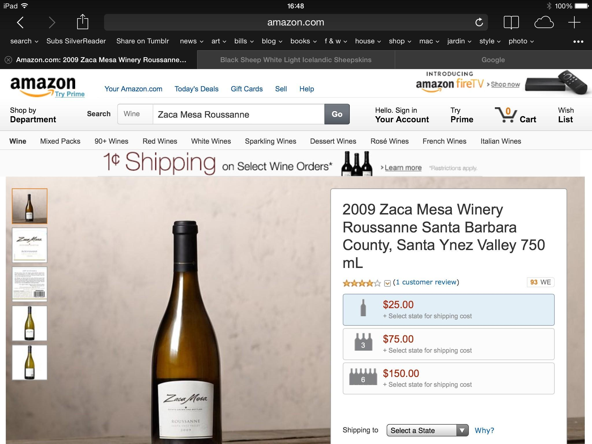 The 2009 Zaca Mesa Winery Roussanne from Santa Ynez Valley is one of the 10 bestselling wines at Amazon.com.