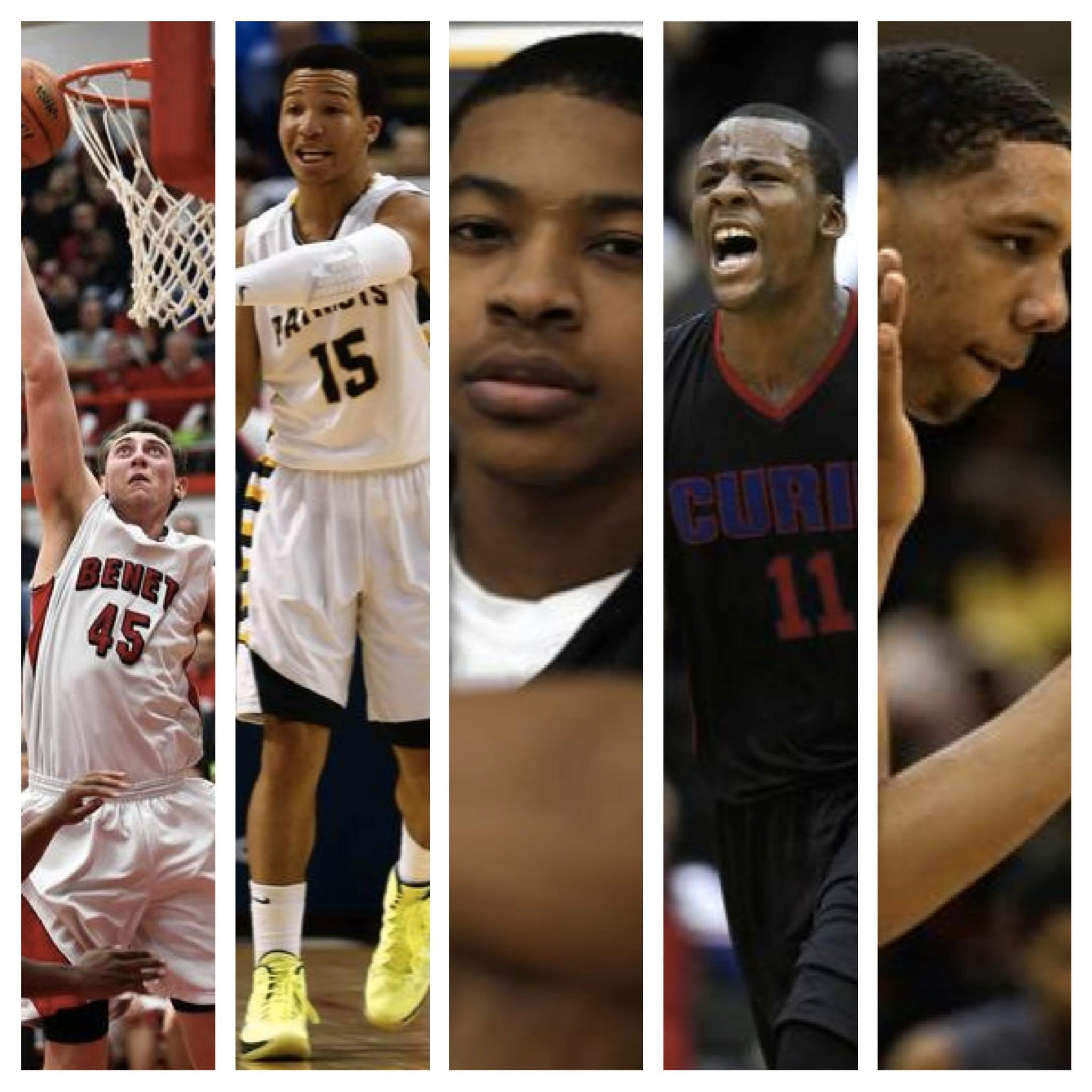 From left: Benet senior Sean O'Mara, Stevenson junior Jalen Brunson, Marian Catholic senior Tyler Ulis, Curie senior Cliff Alexander, Young senior Jahlil Okafor
