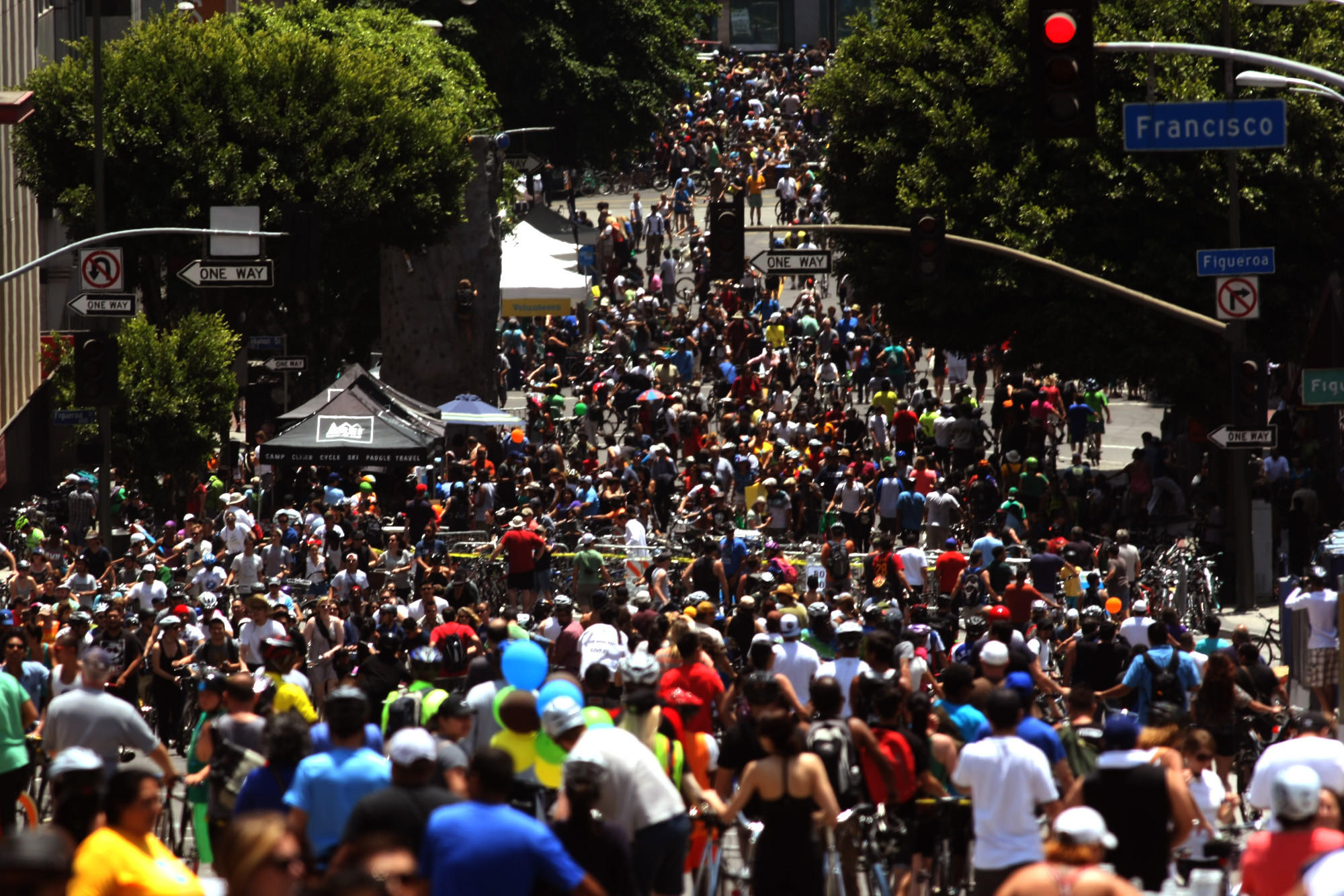 Hundreds take part in a CicLAvia event in downtown L.A. in June 2013.