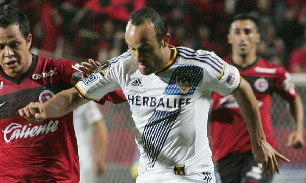 Galaxy forward Landon Donovan battles for control of the ball during a CONCACAF Champions League loss to Tijuana on March 18.