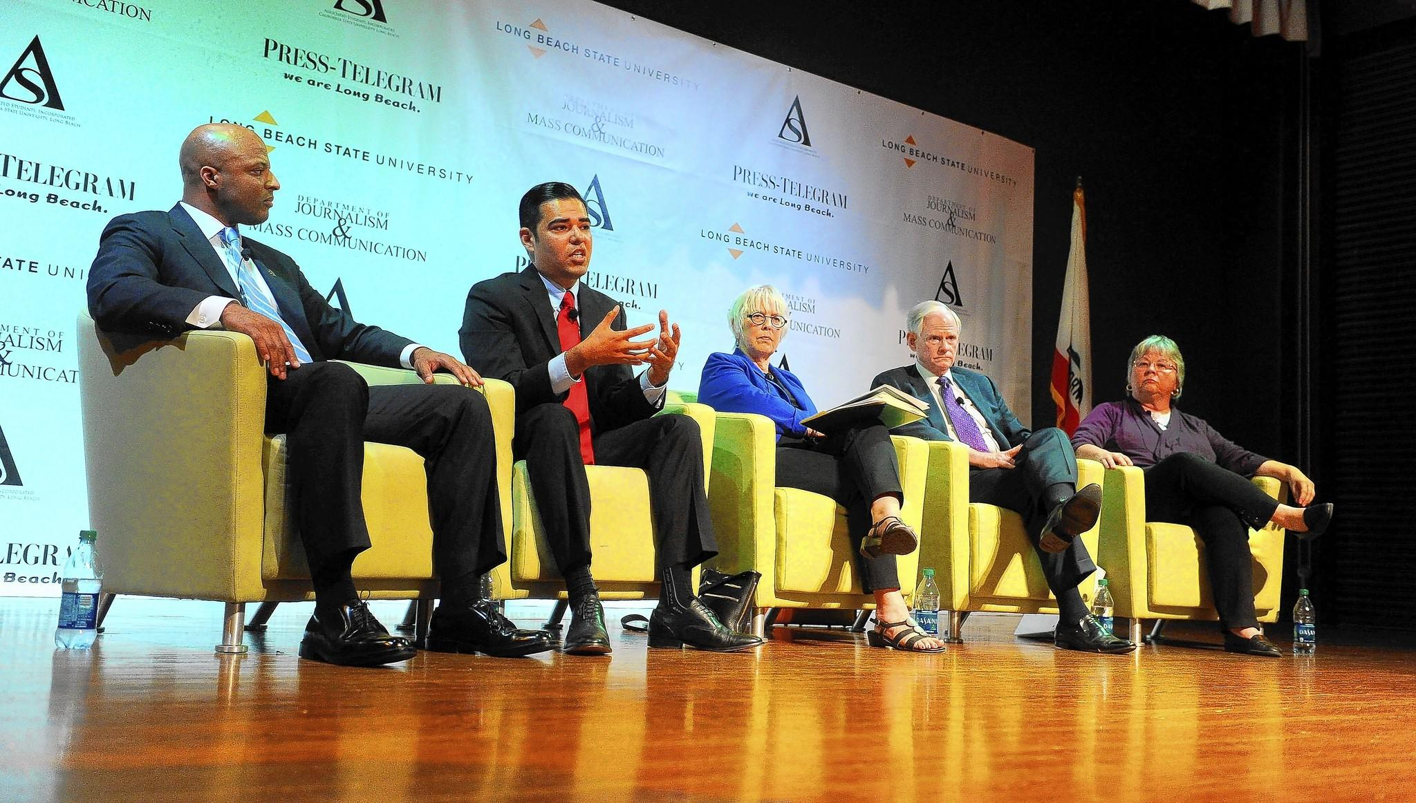 Long Beach mayoral candidates participate in a debate at Cal State Long Beach. From left: Damon Dunn, Robert Garcia, Bonnie Lowenthal, Doug Otto and Gerrie Schipske.