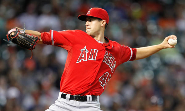 Angels starter Tyler Skaggs delivers a pitch during the first inning of the team's 5-1 road win over the Houston Astros on Saturday.