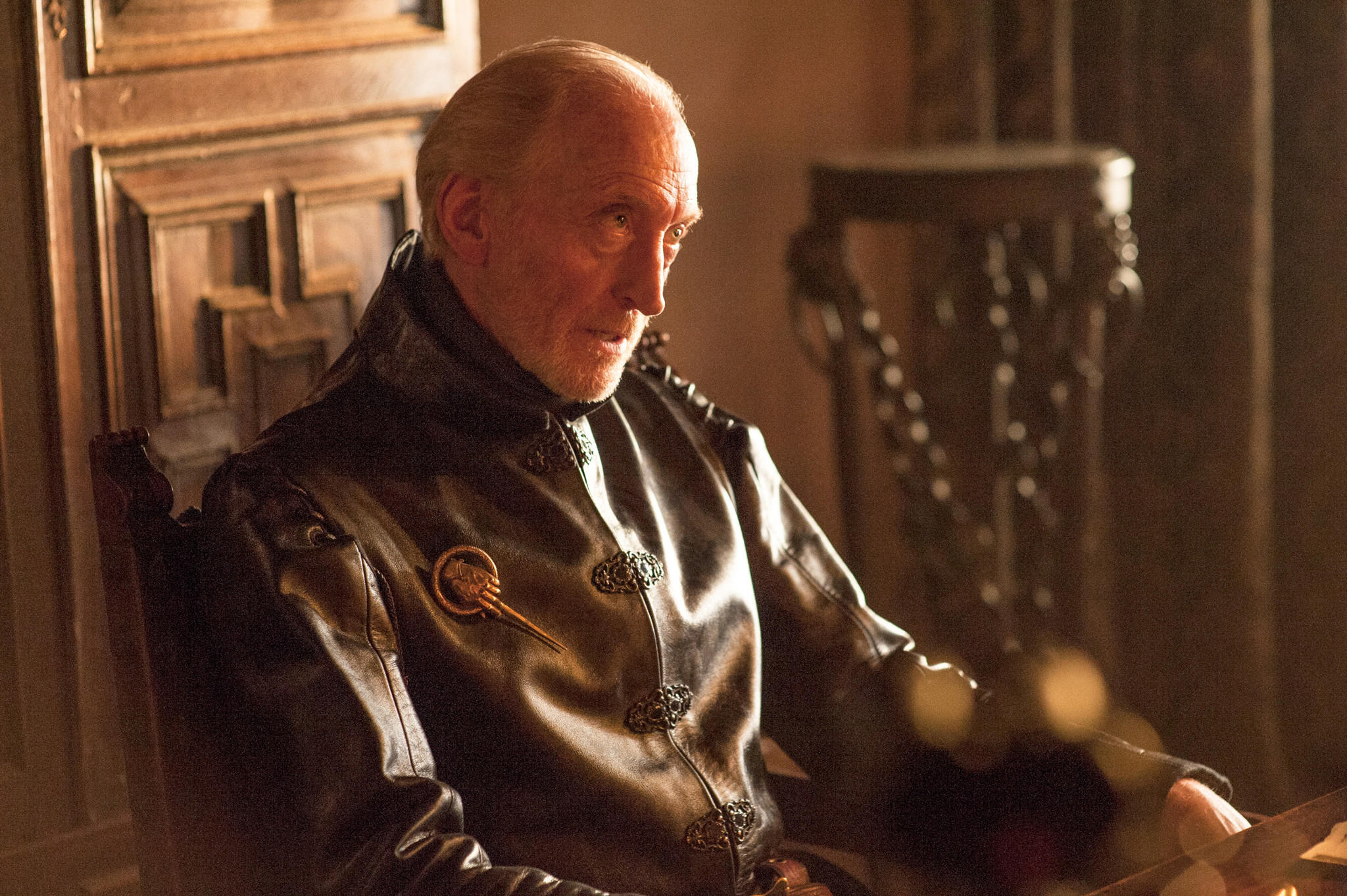 """Evil patriarch Tywin Lannister (Charles Dance) wields his power at King's Landing on """"Game of Thrones."""""""