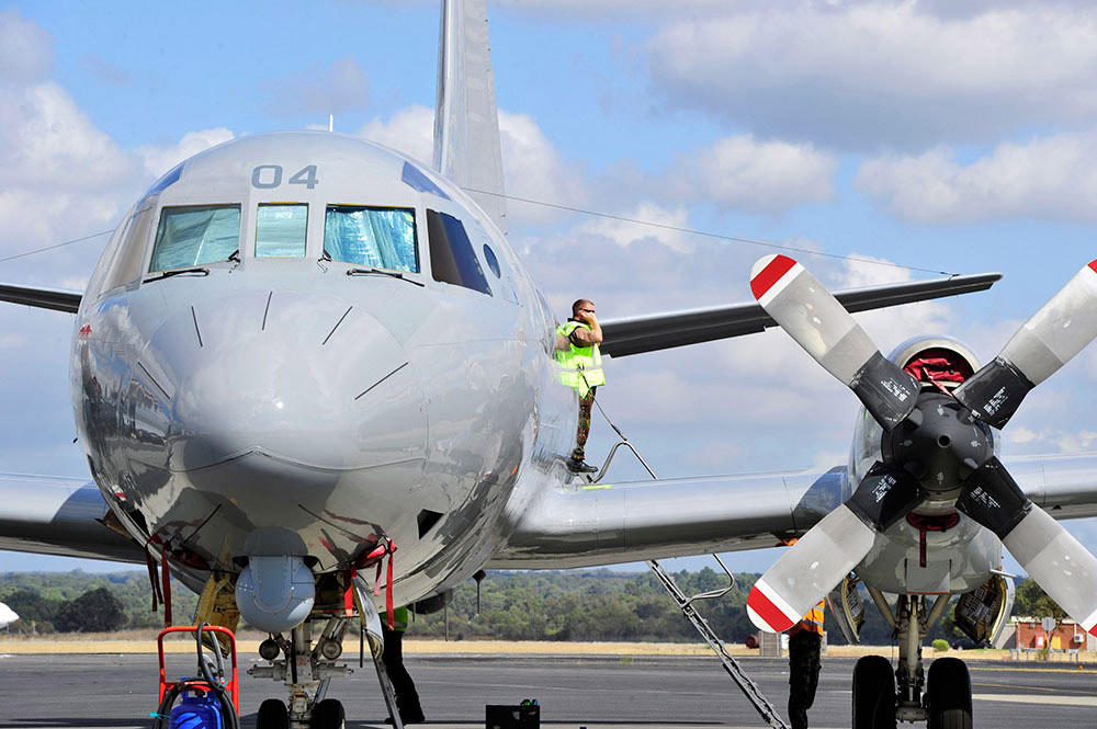 A Royal New Zealand Air Force Orion aircraft prepares to take off from Royal Australian Air Force Base Pearce near Perth, Austrailia, on April 6.
