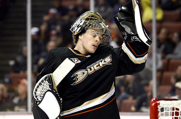 Ducks goalie Jonas Hiller after giving up a fourth goal to the Predators on Friday night.