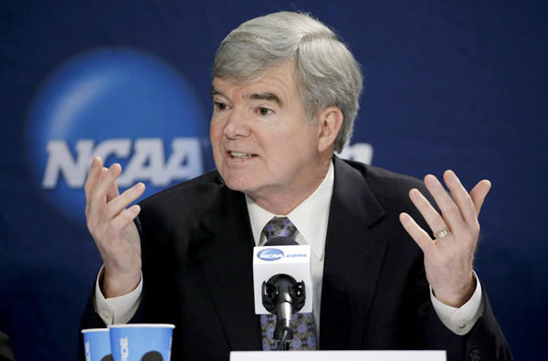 NCAA President Mark Emmert answers a question during a news conference Sunday in Arlington, Texas.