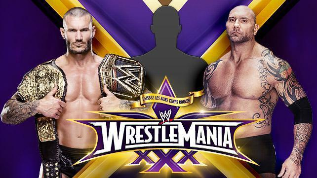 Who will face Randy Orton and Batista in the title match?