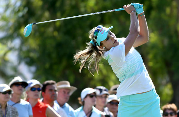 Lexi Thompson hits her tee shot on the seventh hole Sunday during the final round of the Kraft Nabisco Championship at Mission Hills Country Club in Rancho Mirage.