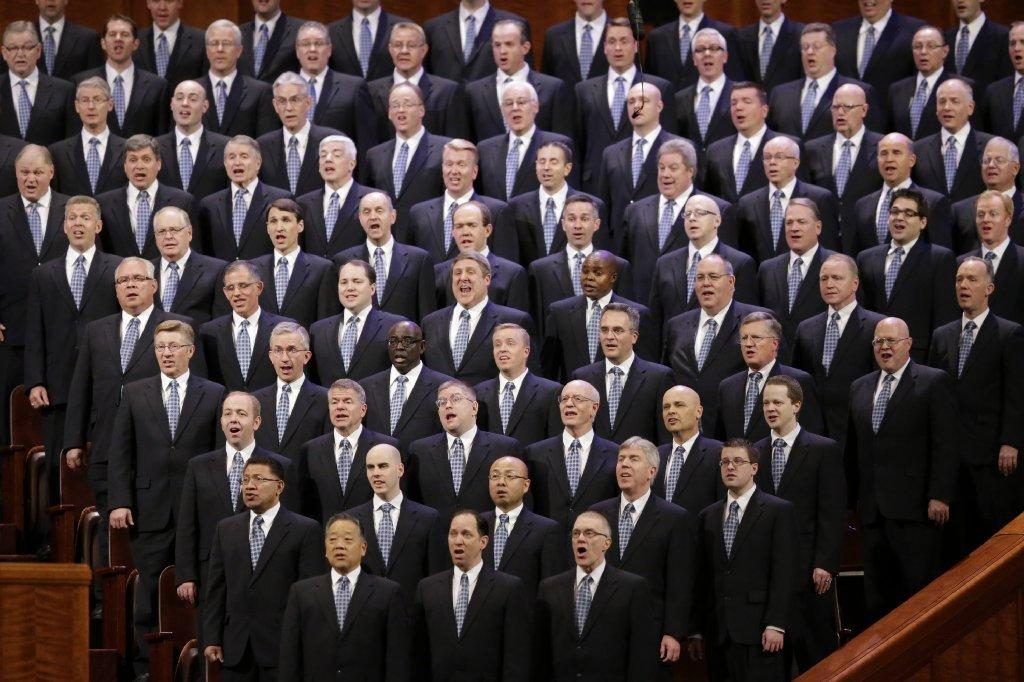 Members of the Mormon Tabernacle Choir sing during the Church of Jesus Christ of Latter-day Saints' semiannual General Conference in Salt Lake City.