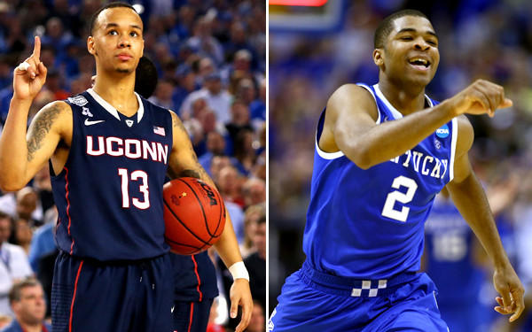 If the NCAA championship game comes down to a last shot, Connecticut point guard Shabazz Napier (13) or Kentucky guard Aaron Harrison (2) is likely to be taking it.