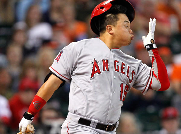 Angels catcher Hank Conger follows through on a single in the fifth inning against the Astros on Sunday in Houston, Texas.