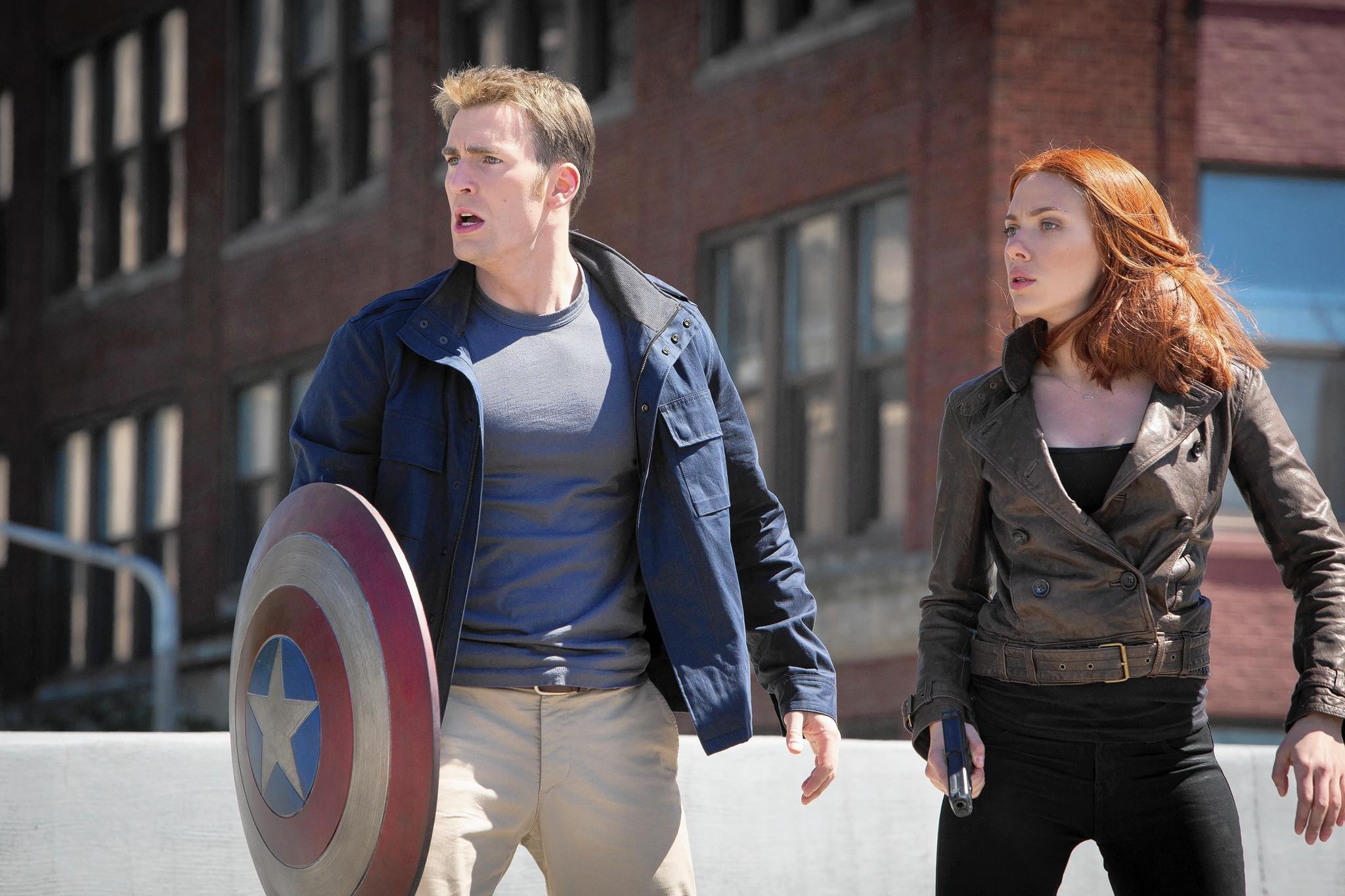 "Chris Evans and Scarlett Johansson in ""Marvel's Captain America: The Winter Soldier."""