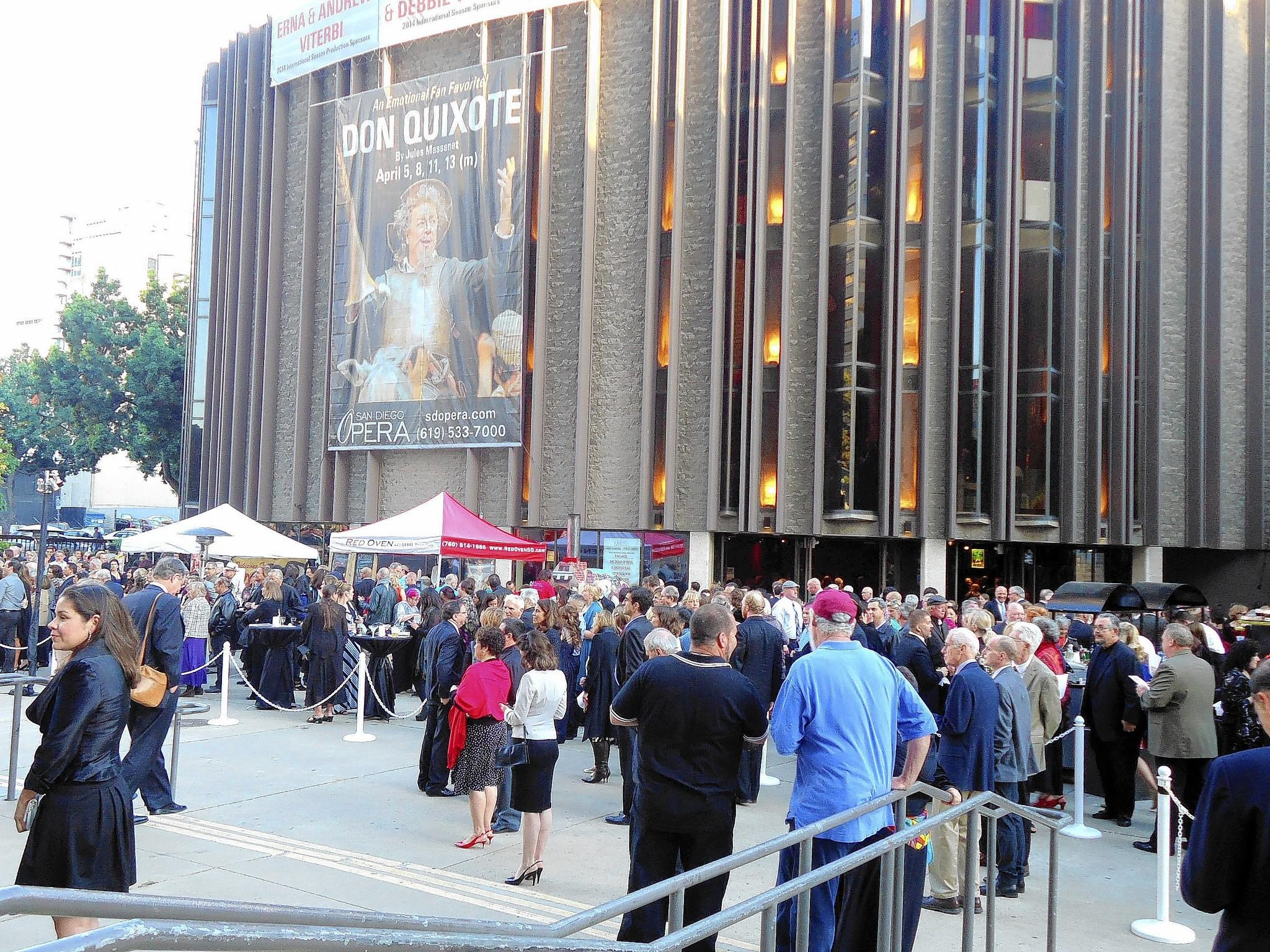 "San Diego Opera patrons gather at the Civic Theatre in downtown San Diego before the April 5 evening performance of ""Don Quixote."""