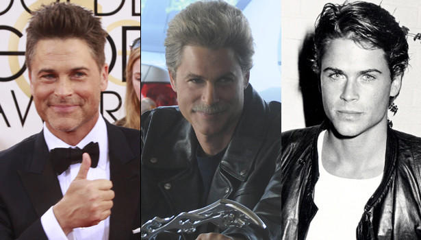 "Rob Lowe at the Golden Globe Awards in January 2014 (from left), in ""Drew Peterson: Untouchable"" in 2012, and in Beverly Hills in 1983."