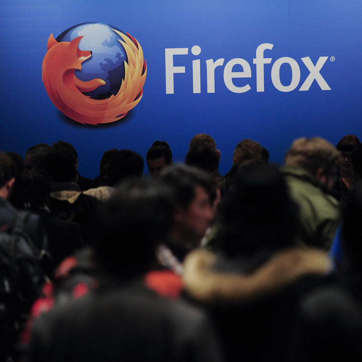 People wait to attend the press conference of Mozilla's CEO in Barcelona on February 24, 2013.