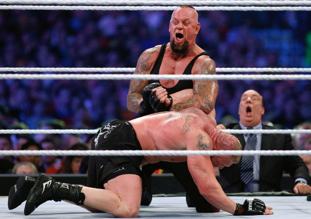 """A shot of the action at WWE's """"Wrestlemania."""""""