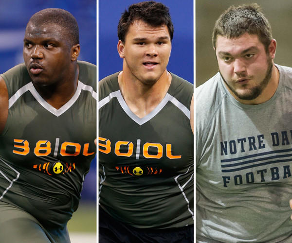 From left to right: Greg Robinson (Auburn), Jake Matthews (Texas A&M) and Zack Martin (Notre Dame) could potentially become the Ravens' long-term solution at right tackle.