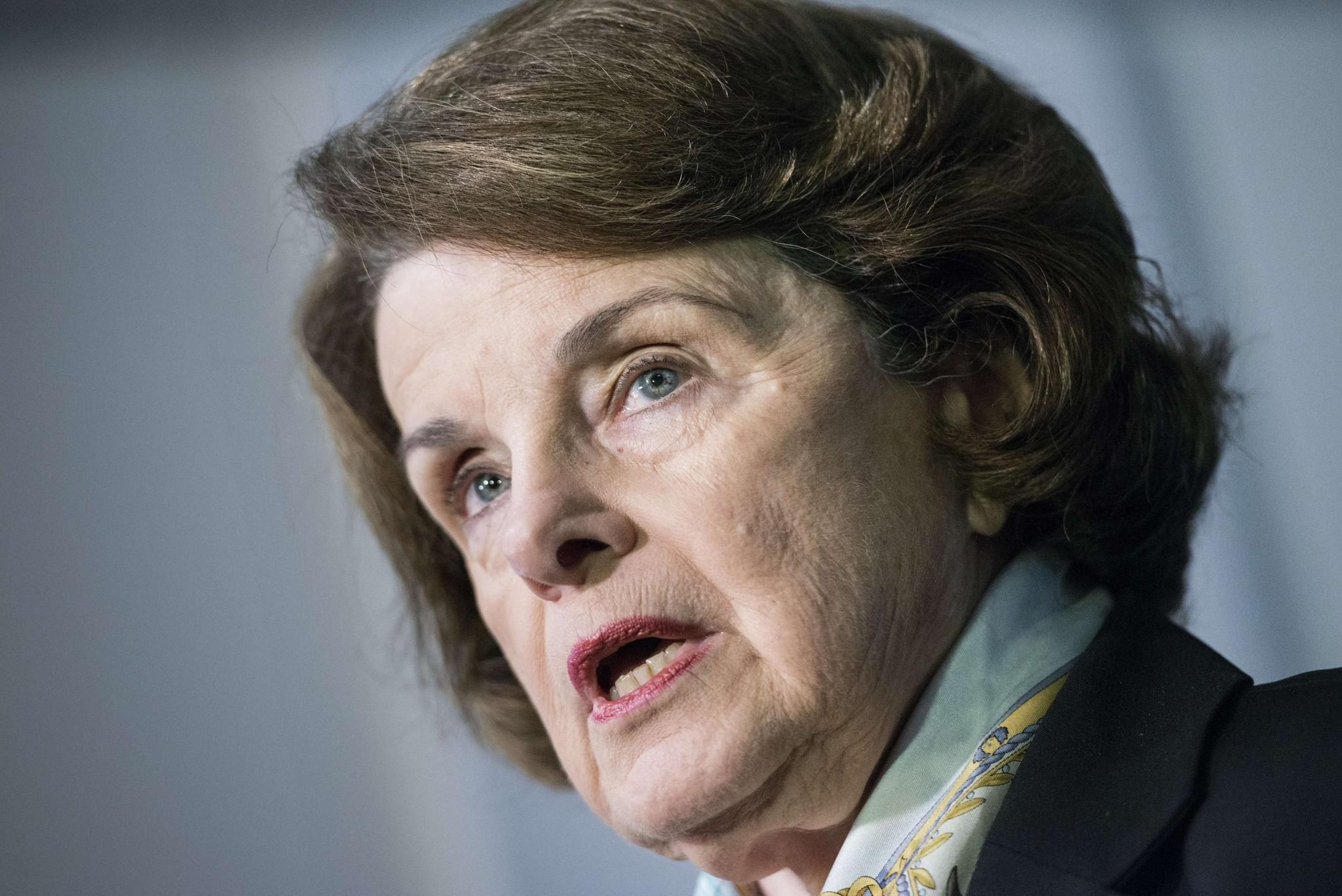 Senator Dianne Feinstein (D-Calif.) speaks to the media after a closed meeting of the Senate Intelligence Committee on Capitol Hill.