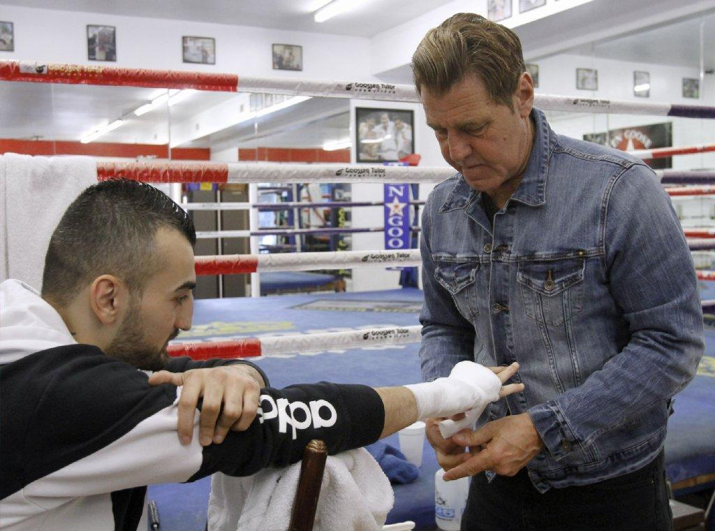 Vanes Martirosyan, left, will fight for the second time with trainer Joe Goossen, right, in his corner on May 10.