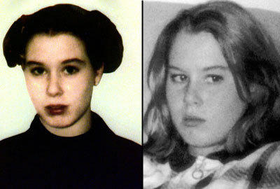 Handout photo of Amber Creek taken just before her death, according to police, left, and her photo from the website of the National Center for Missing and Exploited Children.