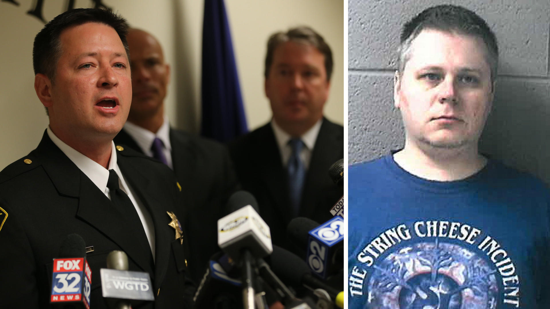 Racine County Sheriff Christopher Schmaling, left, announces the arrest of James Eaton, right, in the 1997 slaying of Amber Creek, 14, of Palatine.