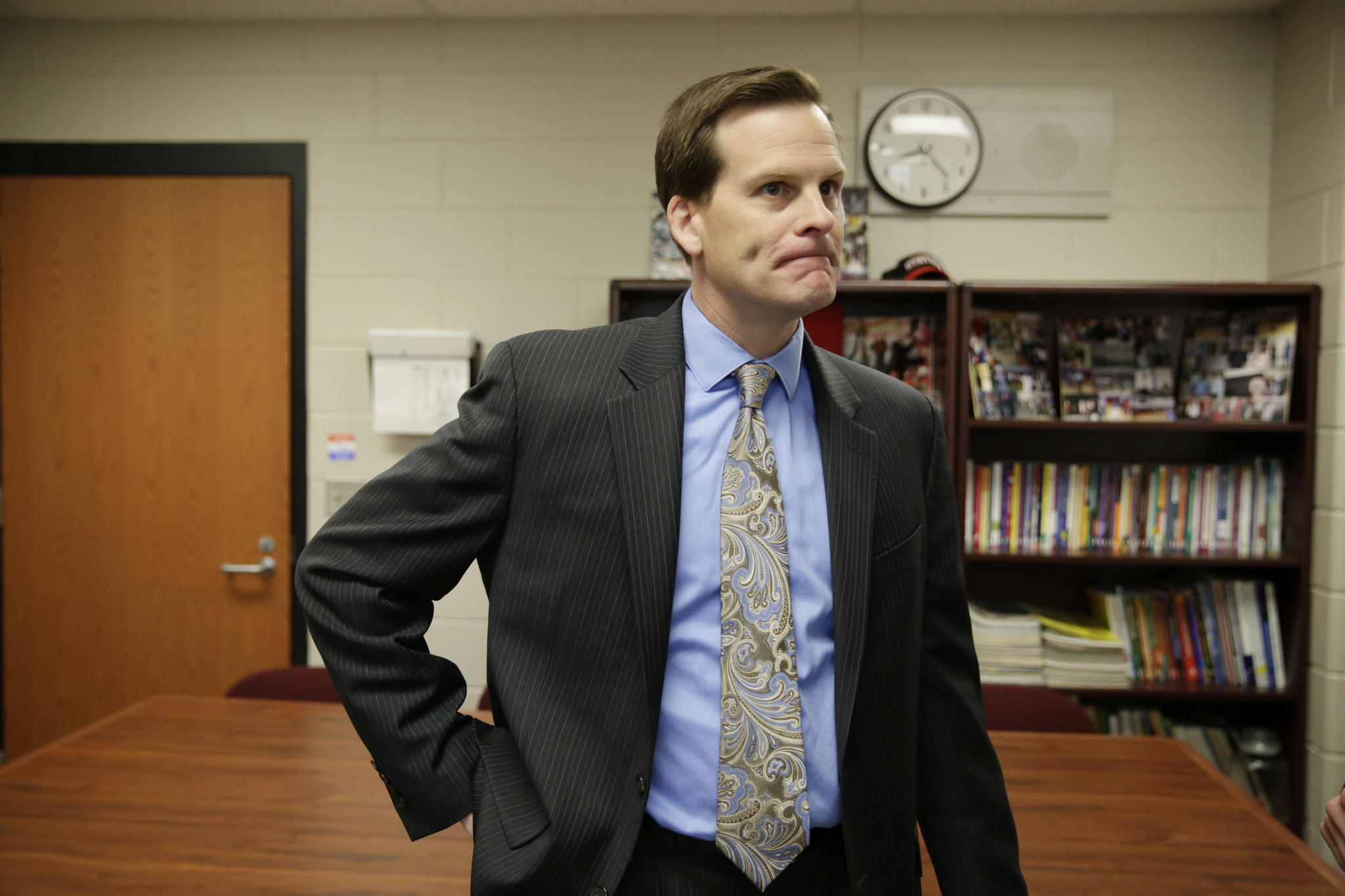 """Dr. Craig Winkelman speaks with reporters from inside his office in Station Middle School in Barrington. Winkelman confirmed that police are investigating the """"sexting"""" of inappropriate sexual images among a handful of 8th graders at the school."""