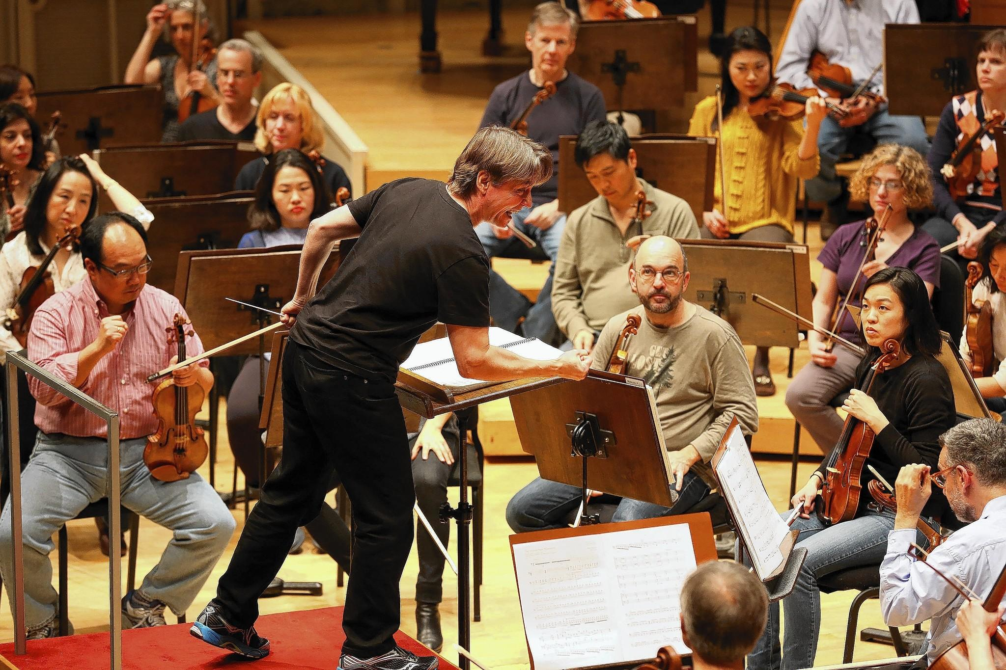 Celebrated conductor and composer Esa-Pekka Salonen, rehearses with the Chicago Symphony Orchestra.