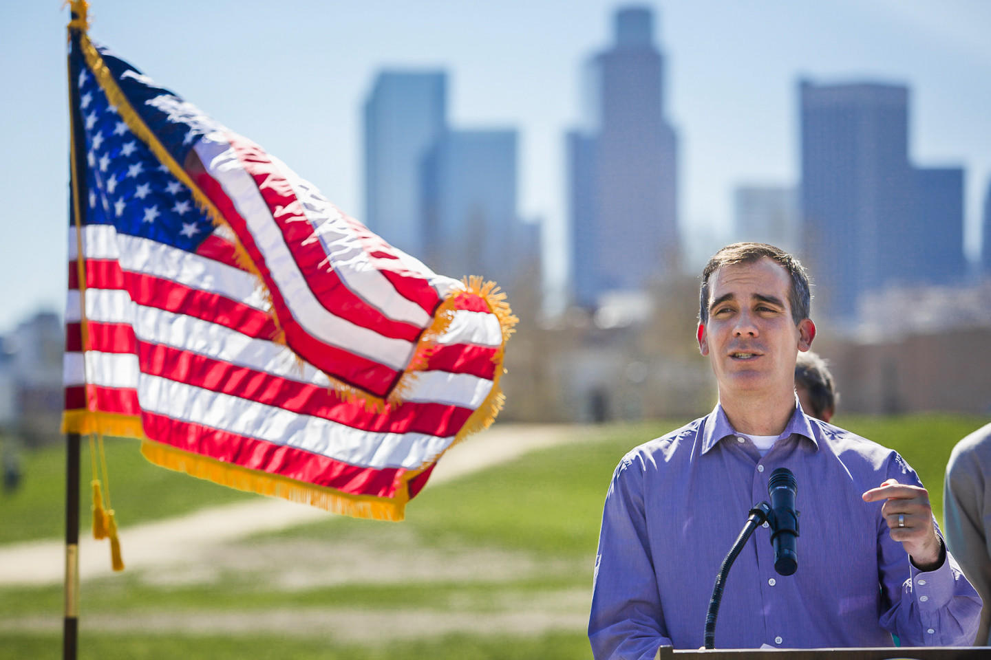 Los Angeles Mayor Eric Garcetti, shown at a news conference last month, will deliver his first State of the City address Thursday. The speech will be closed to the public, but can be viewed live online, officials said.