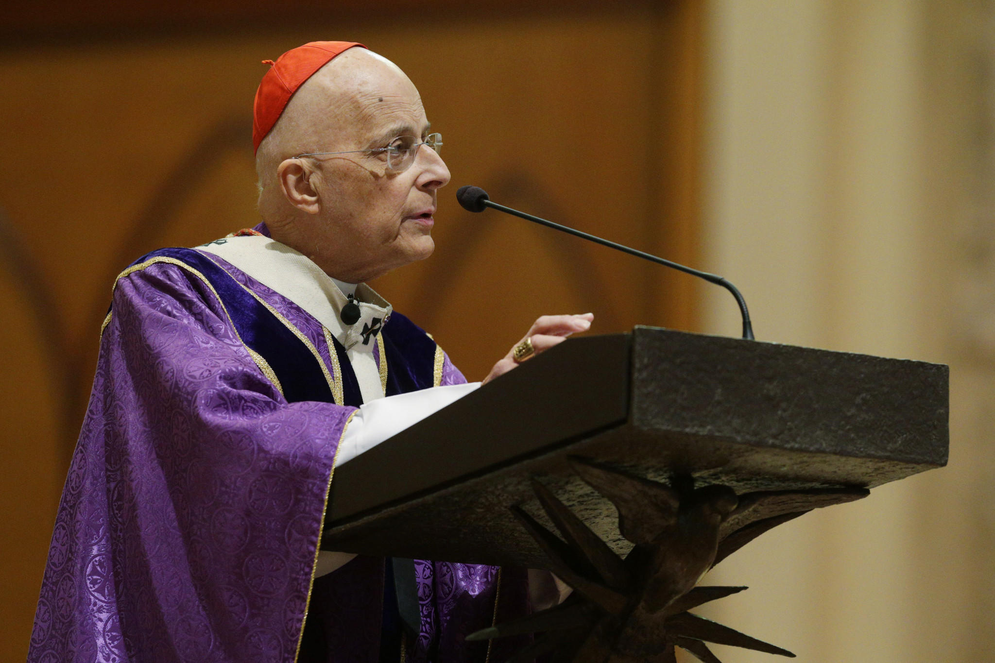 Cardinal Francis George gives the homily during mass at Holy Name Cathedral on March 30.