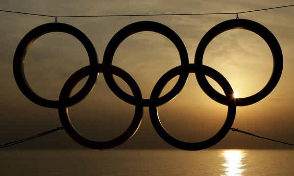 The sun sets on the Black Sea in Sochi, Russia, beyond an Olympic rings display. Will the U.S. Olympic Committee consider Los Angeles as a potential site for the 2024 Olympic Games?