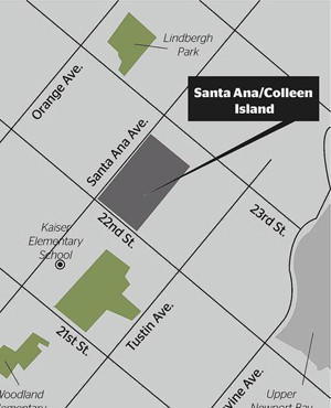 The Santa Ana/Colleen Island is about 14 acres of unincorporated Orange County. Costa Mesa is looking to annex the land, which contains 51 single-family homes and about 150 residents.