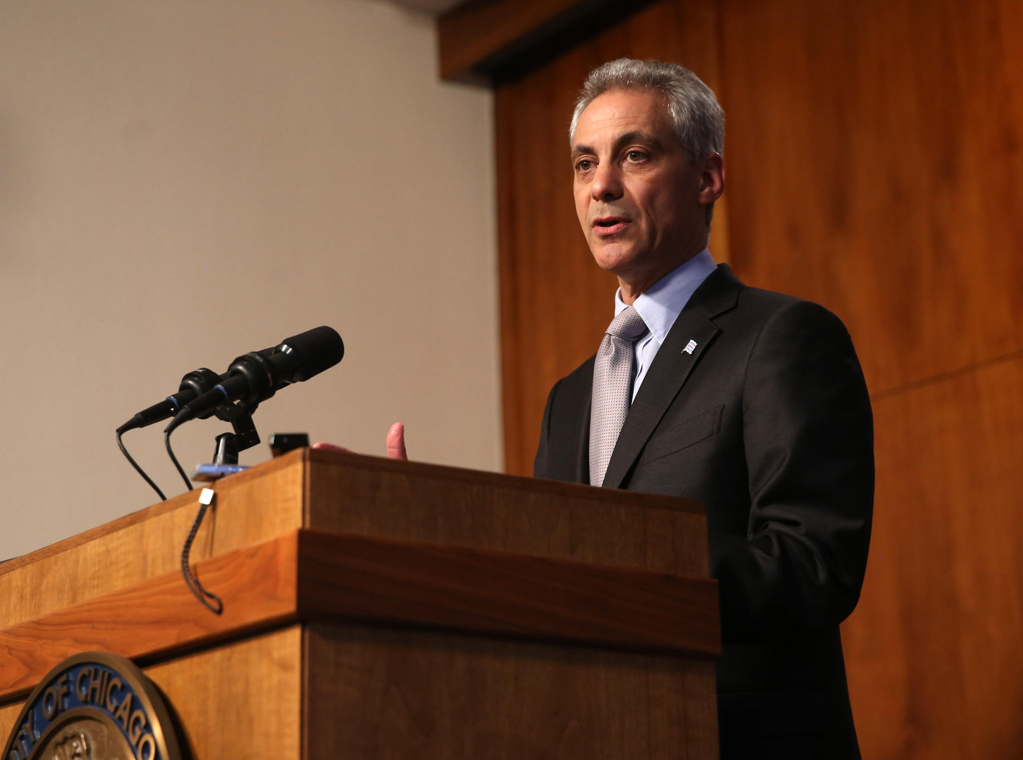 Chicago Mayor Rahm Emanuel makes a statement at City Hall on the pension bill passing in Springfield.