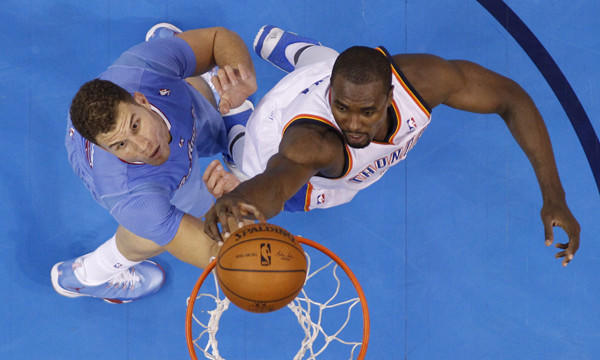 Oklahoma City Thunder forward Serge Ibaka dunks over Clippers forward Blake Griffin during the Clippers' 125-117 win Feb. 23. The Clippers know a win over the Thunder on Wednesday would go a long way in helping them finish ahead of Oklahoma City in the Western Conference.