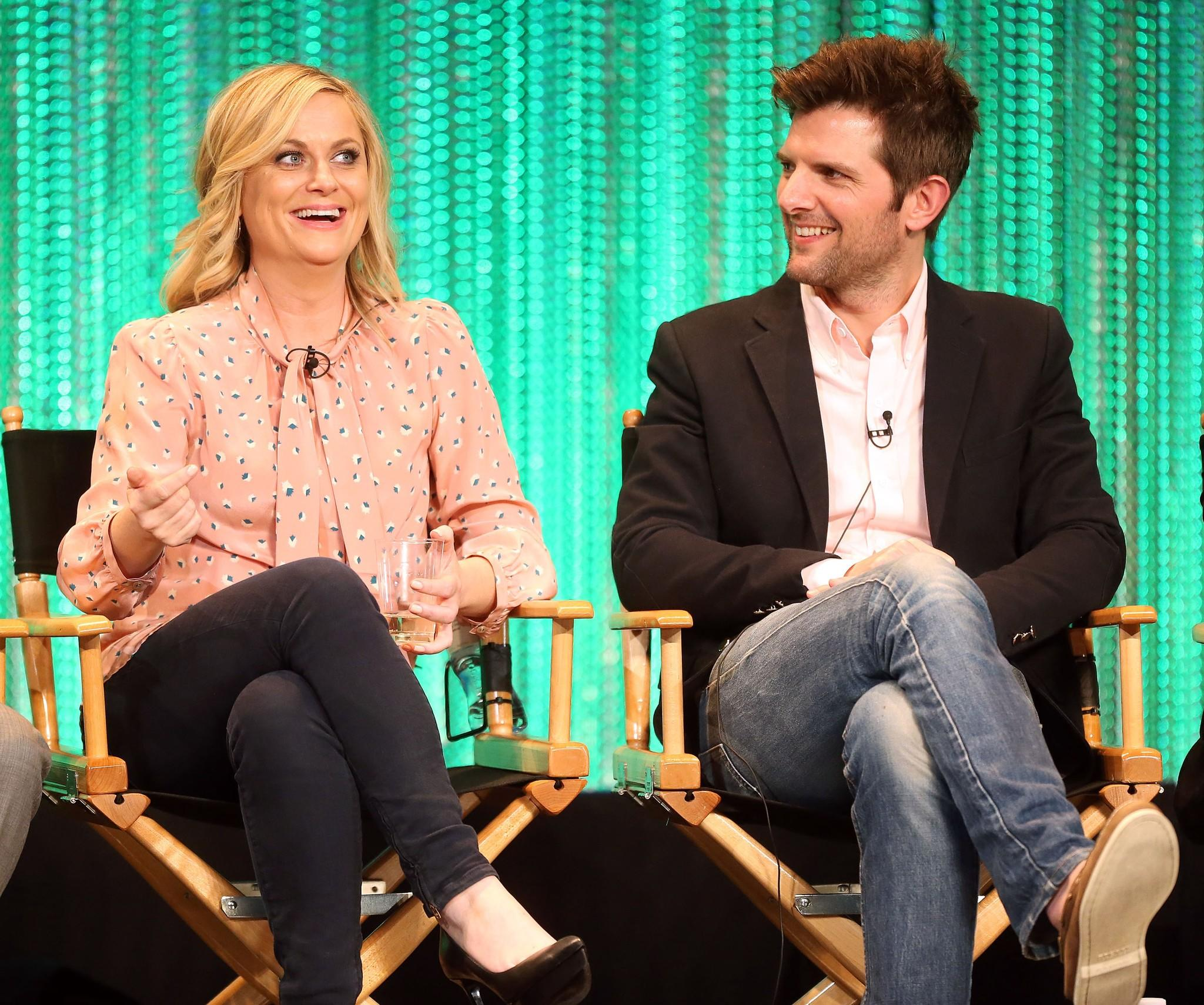 """Parks and Recreation"" stars Amy Poehler, left, and actor Adam Scott will be part of NBC's advisory board enlisted to help find the network's next comedy projects."