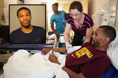 Cedryck Davis, 23, (inset) has been charged in a Jan. 30 shooting that paralyzed high school coach Shawn Harrington, here shown being helped by a physical therapist .