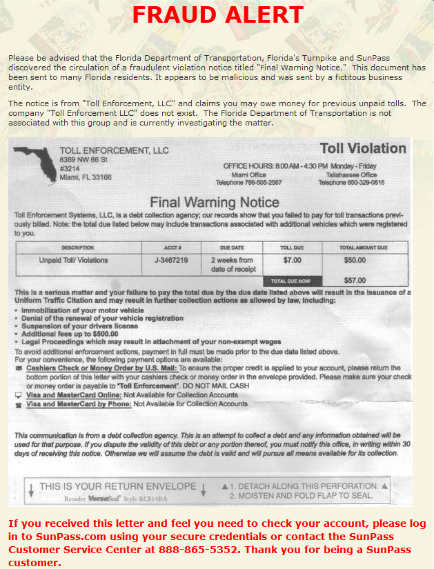 Florida transportation authorities warn of fraudulent toll notice florida transportation authorities warn of fraudulent toll notice sun sentinel altavistaventures Image collections