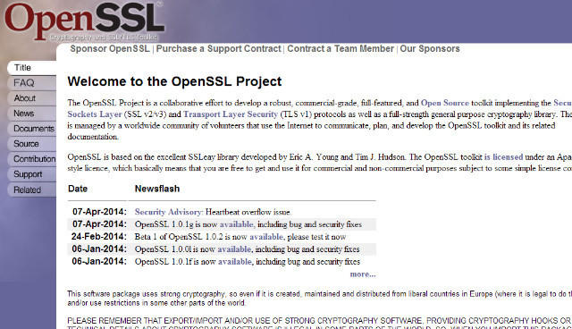 "The ""Heartbleed"" bug was discovered in the OpenSSL encryption software."