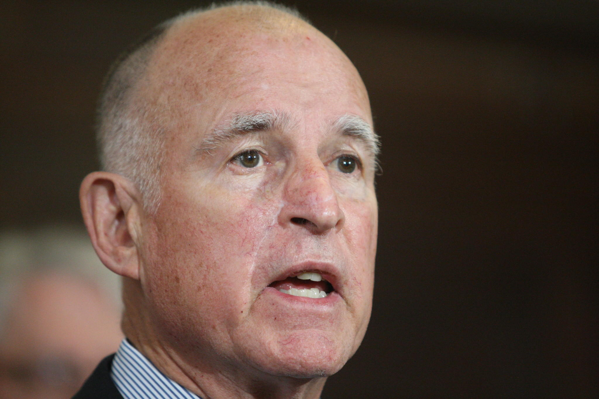 A Field Poll released Wednesday shows California Gov. Jerry Brown has the highest approval rating of his current term. Above, Brown speaks to reporters in February at Los Angeles City Hall.