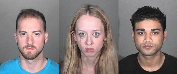 Donovan Butez, 25, Brianna Oppenheimer, 25, and Leary Stuart Jr., 22, all of Glendale were arrested Tuesday on suspicion of manufacturing hash oil as well as cultivating marijuana, according to Glendale Police Department.