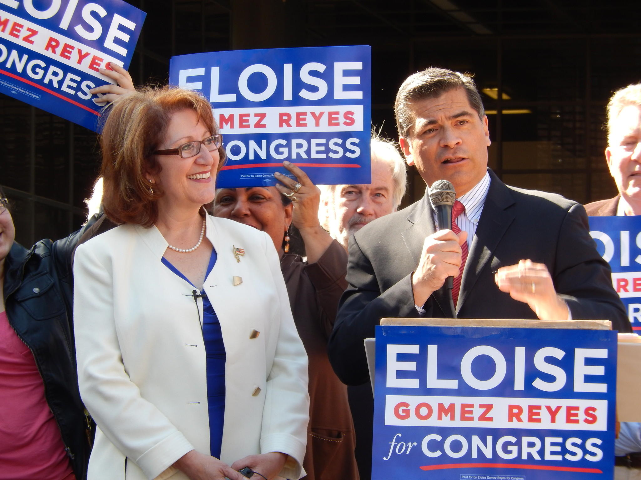 Colton attorney Eloise Gomez Reyes, shown earlier this year with Rep. Xavier Becerra (D-Los Angeles), who has endorsed her.