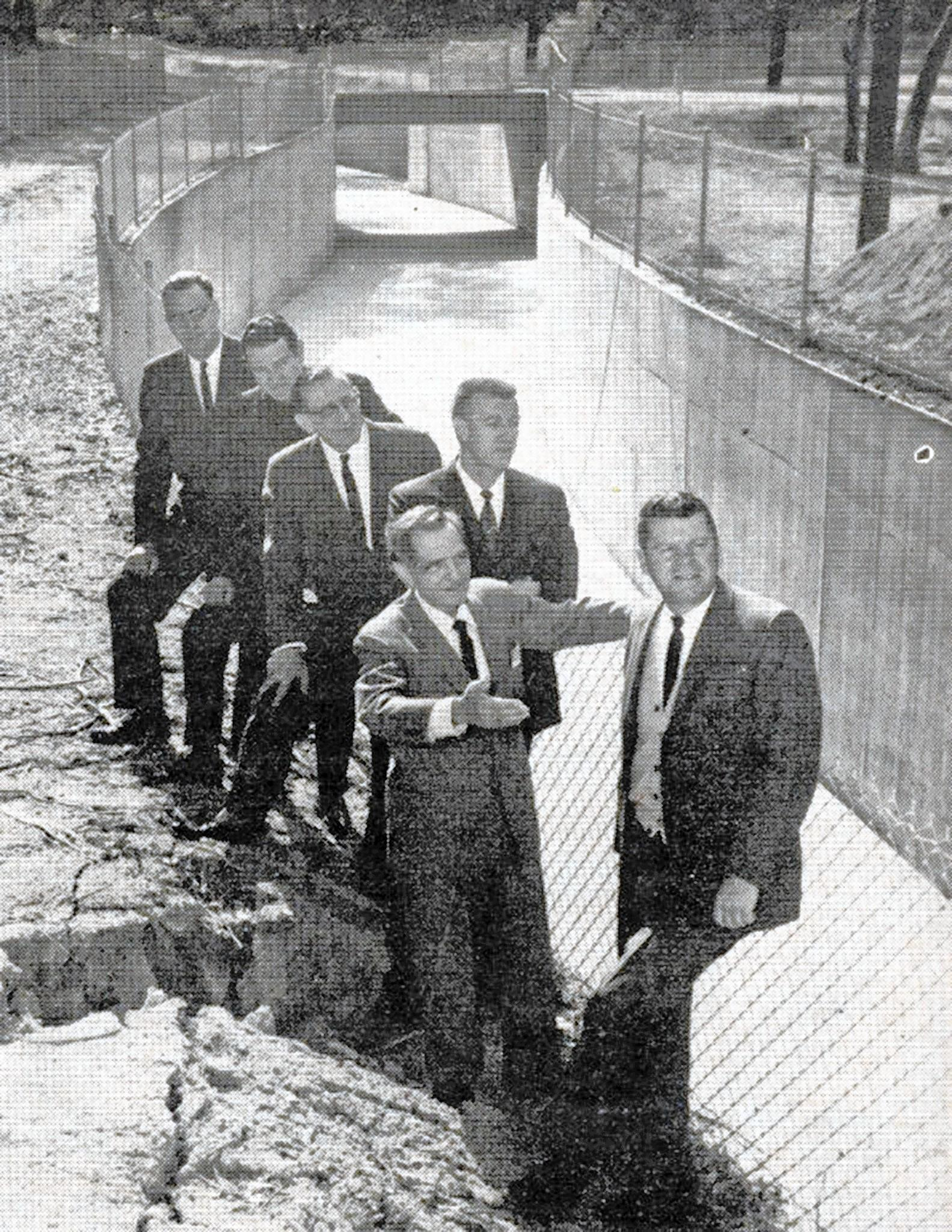 La Cañada resident Warren M. Dorn, front, then a member of the Los Angeles County Board of Supervisors, in the spring of 1964 led a group of civic and governmental dignitaries on an inspection tour of the Flint Canyon Channel, which had been improved from Woodleigh Lane to the Paradise Canyon Channel. The project, part of a countywide plan adopted by the board of supervisors in 1931, carried a price tag of nearly $350,000.