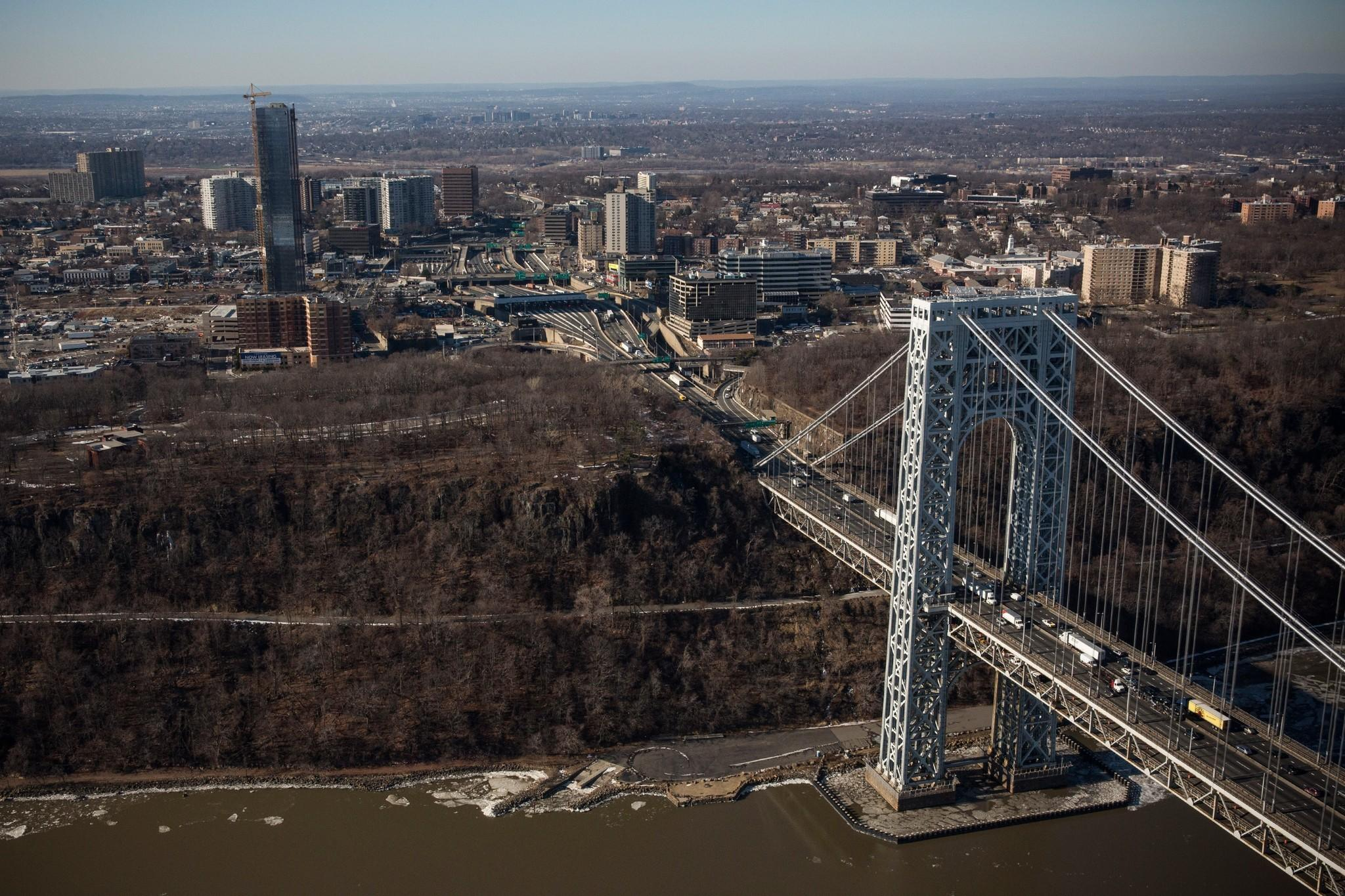 The George Washington Bridge and Fort Lee, N.J., where a massive traffic jam in September created a scandal for Gov. Chris Christie's administration.