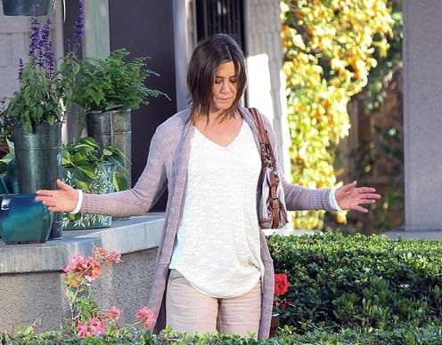 "Jennifer Aniston filming ""Cake"" on location in Los Angeles."