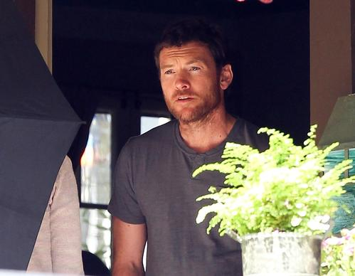 "Sam Worthington  filming ""Cake"" on location in Los Angeles."