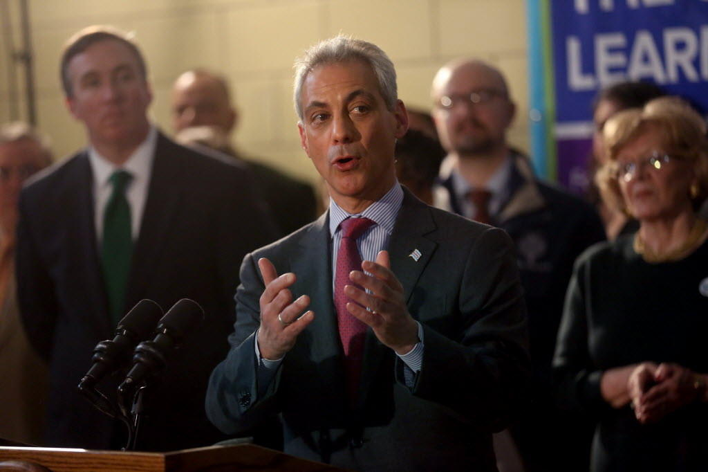 Mayor Rahm Emanuel, seen here at a North Side summer jobs announcement, ruled out a city income tax hike for pensions.