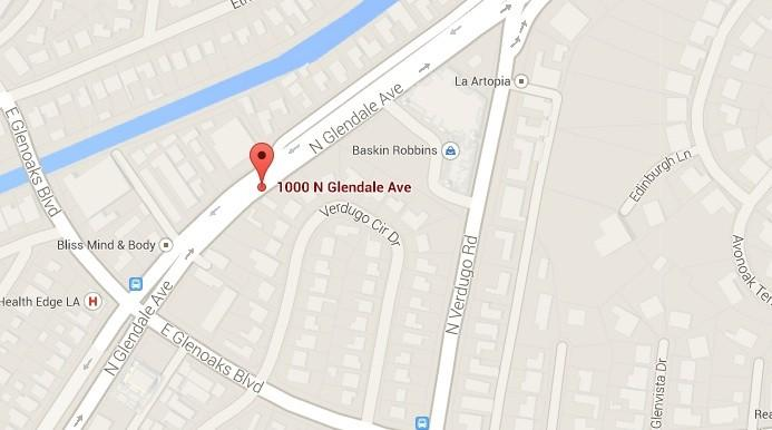 Approximate location of the collision between a vehicle and an elderly Glendale resident.