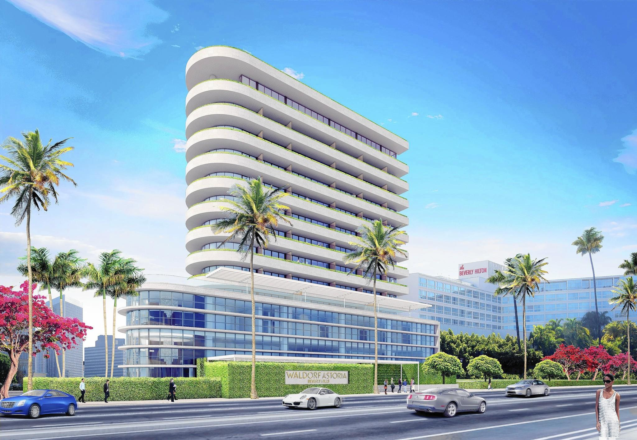The 12-story Beverly Hills Waldorf Astoria will stand at the intersection of Santa Monica and Wilshire boulevards. The site will be lushly landscaped with entrances off of Santa Monica and Wilshire boulevards. Above, a rendering of the project.