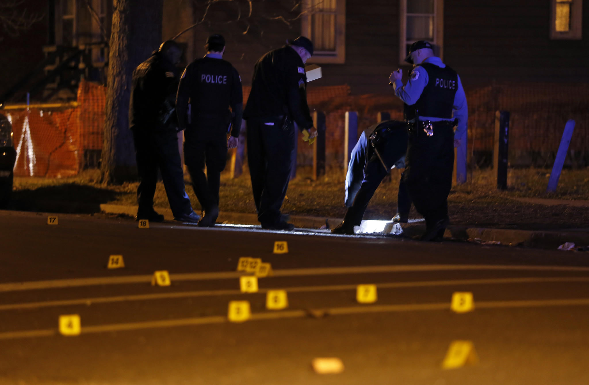 Chicago police investigate a shooting on the 5600 block of S. Elizabeth Street in Chicago.