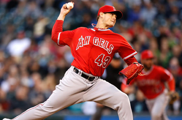 Angels starting pitcher Garrett Richards.